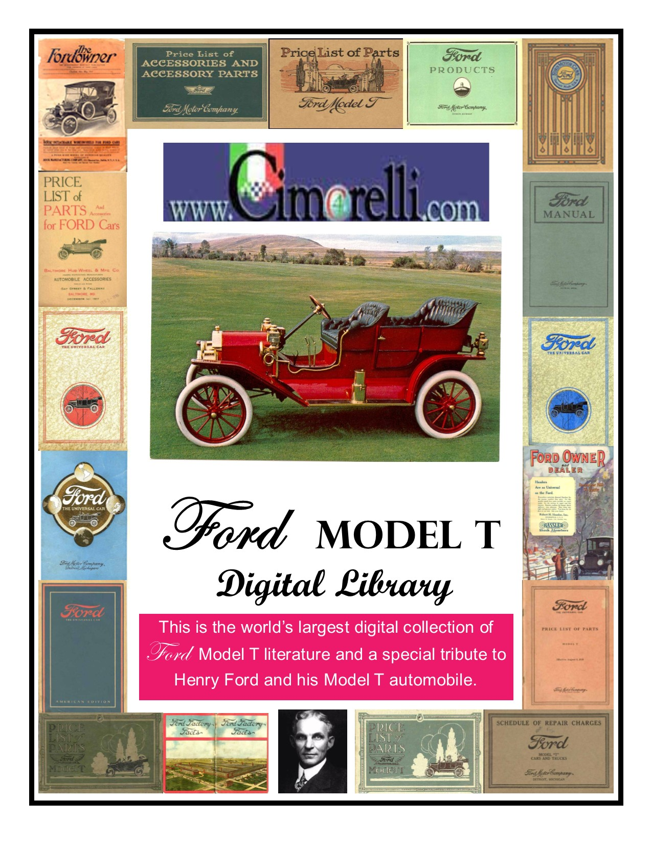 Image of the Model T Digital Library cover featuring a red 1909 Ford Model T  Touring.
